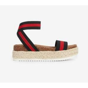 Express Red/Black Strapy Espadrille Sandle Size 7